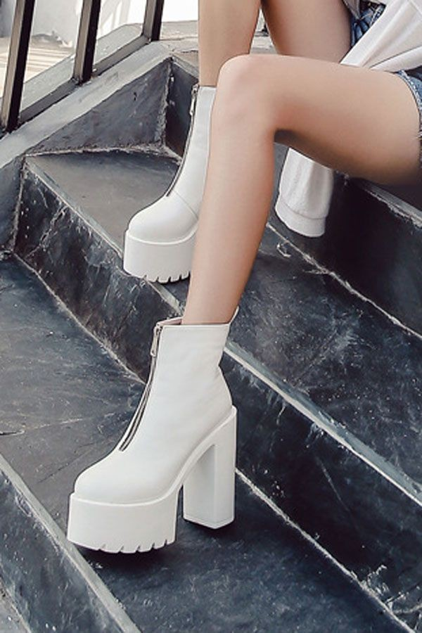 White Pu Zipper Front Platform Chunky High Heel Ankle Booties