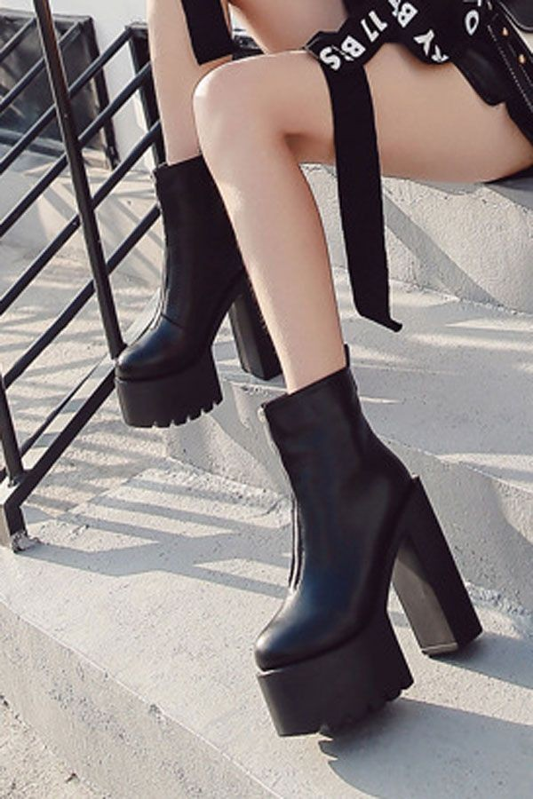 Black Pu Zipper Front Platform Chunky High Heel Ankle Booties