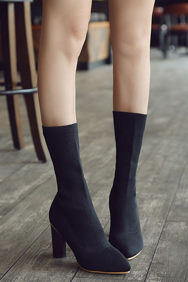 Black Pointed Toe Chunky Heel Mid Calf Sock Boots