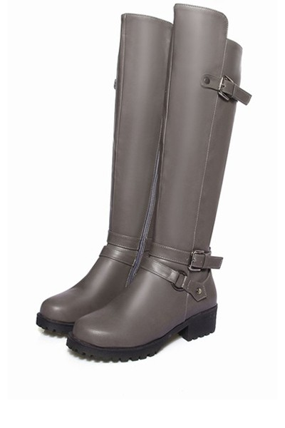 Gray Pu Buckle Strap Knee High Riding Boots
