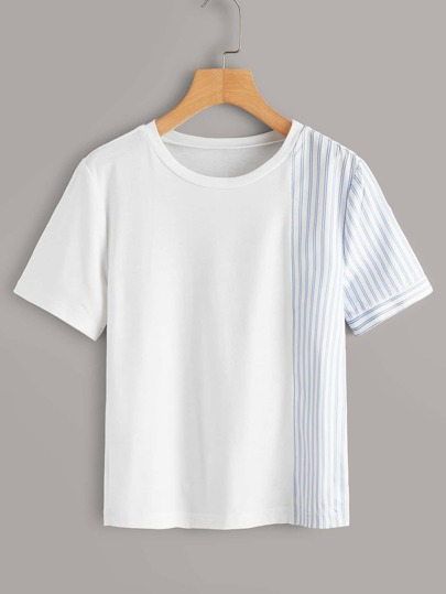 Striped Panel Short Sleeve Tee