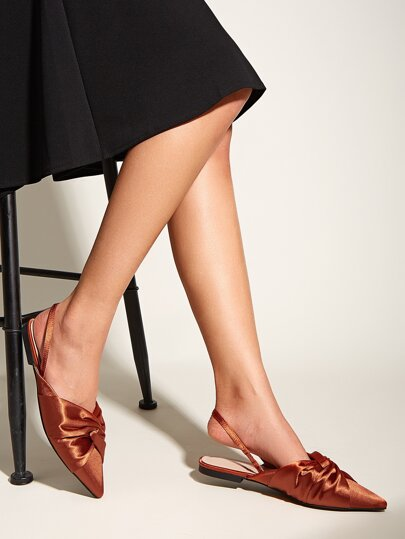 Point Toe Ruched Slingback Flats