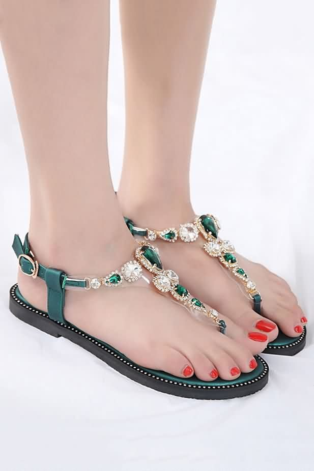 Rhinestone Clear Boho Thong Flat Sandals