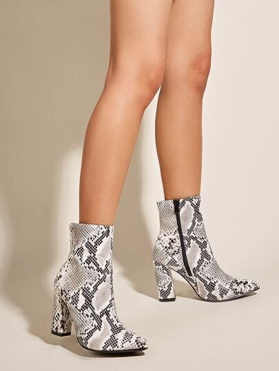Point Toe Snakeskin Print Chunky Heeled Boots