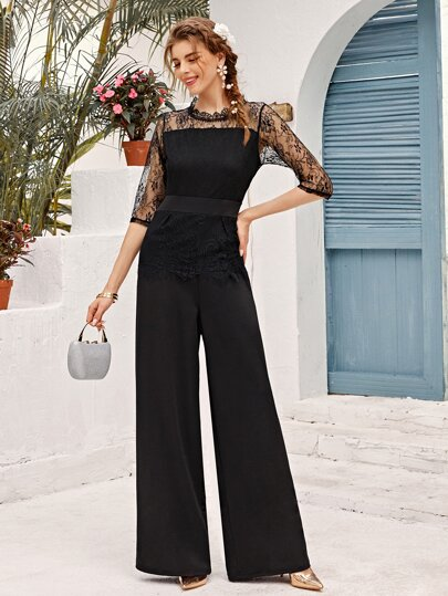 Lace Panel Wide Leg Jumpsuit