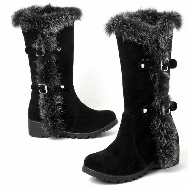 Black Faux Suede Buckle Mid Calf Boots
