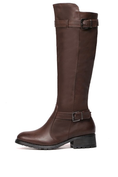 Brown Pu Buckle Strap Knee High Riding Boots