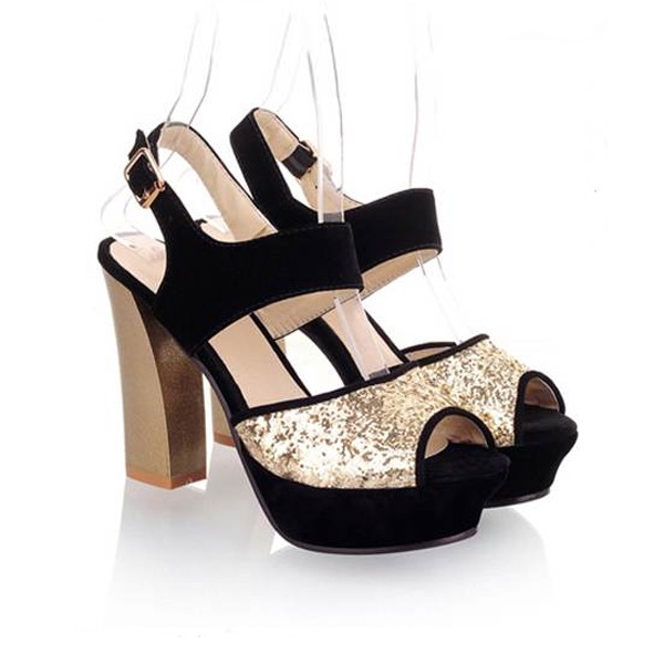 Modern Black Sequins Decor Platform Chunky Heels