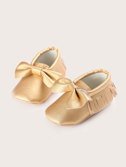 Baby Girl Bow Decor Fringe Flats