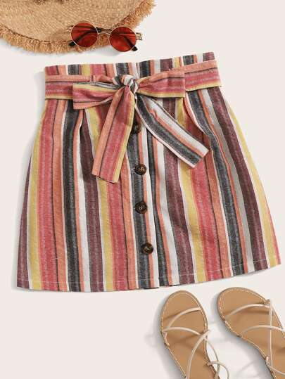Striped Belted Button Front Skirt