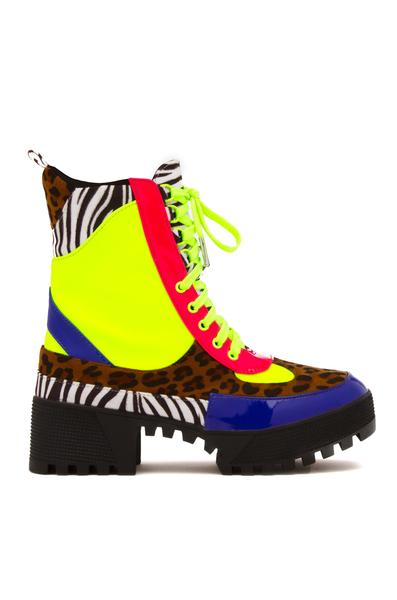 COMMANDER LACE UP COMBAT STYLE LUG CHUNKY HEEL BOOTS-MULTI