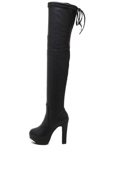 Black Pu Metal Accent Back Tie Thigh High Boots