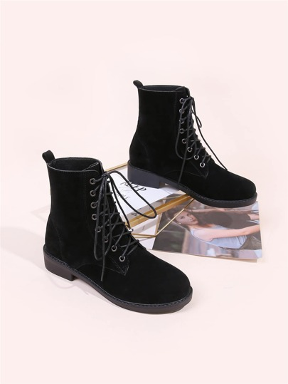 Lace-up Front Ankle Boots