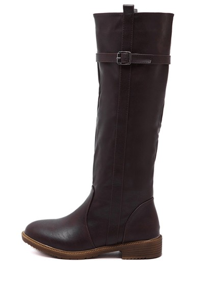 Coffee Buckle Strap Knee High Riding Boots