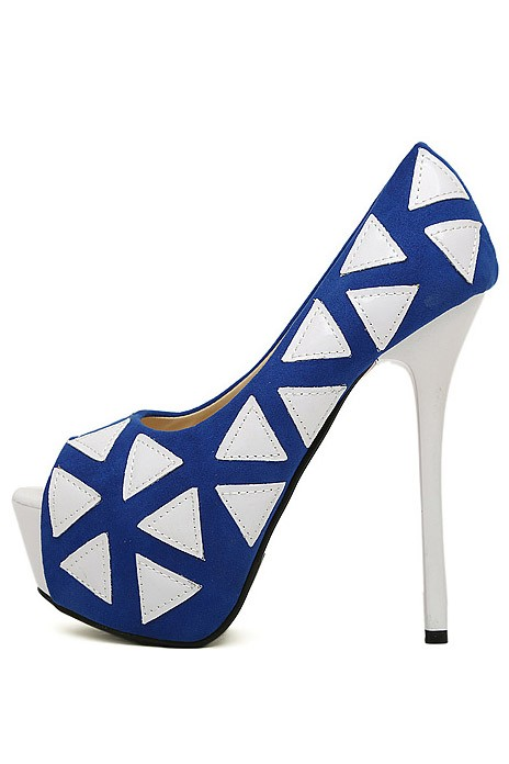 Blue Pu Triangle Print Pump Heels