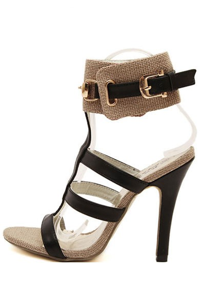 Apricot Black Open Toe Ankle Strap Gladiator Heels