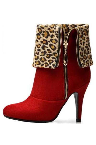 Red Scrub Leopard Lining Side Zip Fold Over Boots