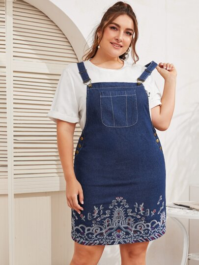 Plus Tribal Embroidered Denim Overall Dress