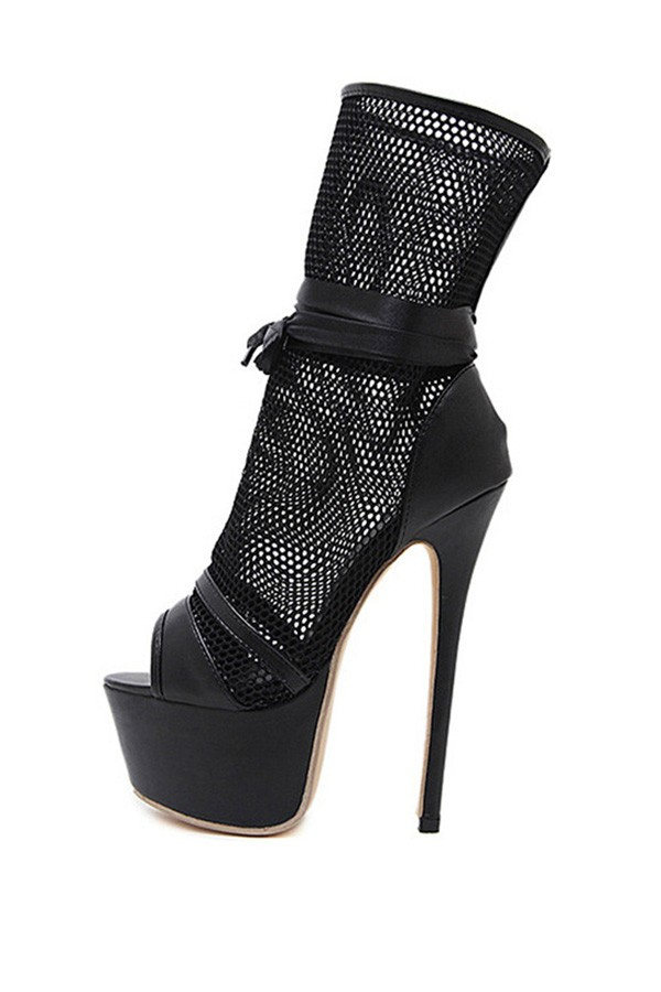 Black Mesh Lace Up Peep Toe Platform High Heel Boots