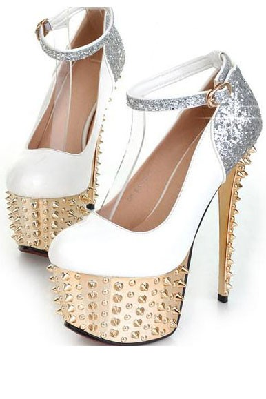 White Patent Leather Pump Sequin Spike Heels