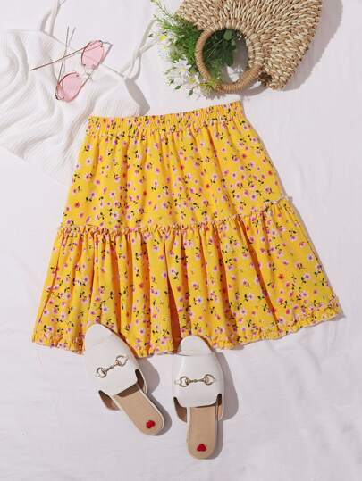 Ditsy Floral Frill Trim Skirt