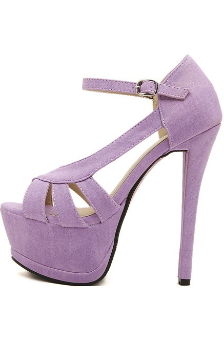 Light Purple Faux Leather Peep Toe Cutout Platform Heels