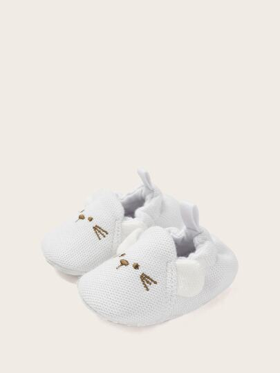Baby Girls Cat Embroidered Slip On Shoes