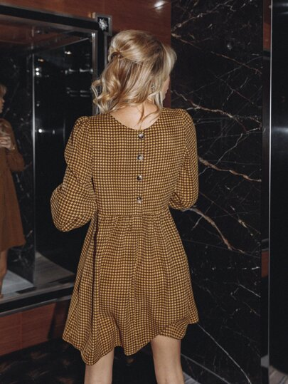 Buttoned Back Houndstooth Dress
