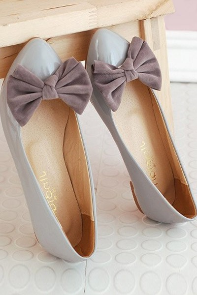 Faux Patent Leather Bow Decor Sweet Flats