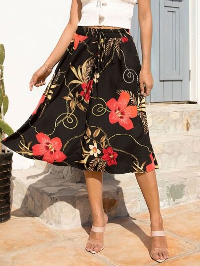 Drawstring Button Front Floral A-line Skirt