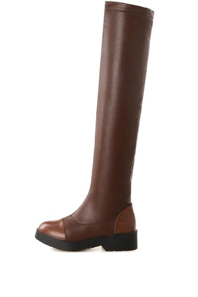 Pu Over The Knee Square Heel Boots