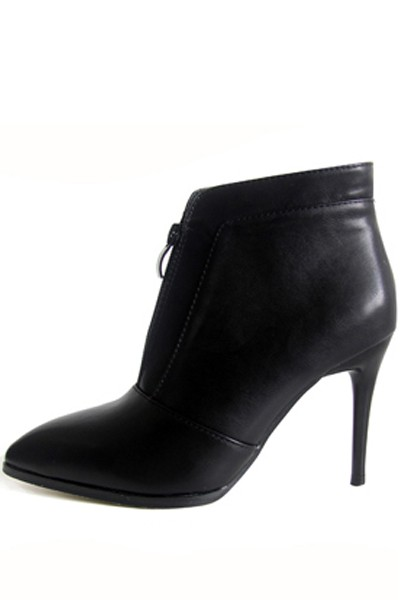 Black Front Zipper Pointed Toe Stiletto Heel Ankle Booties