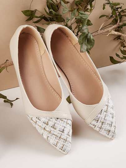 Tweed Point Toe Slip On Flats