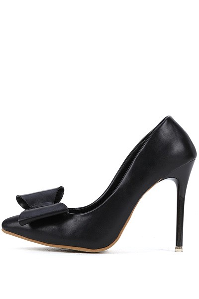 Black Faux Leather Pointed Toe Bow Decor Stiletto Heels