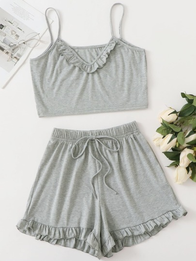Frill Trim Cami Top With Elastic Waist Shorts