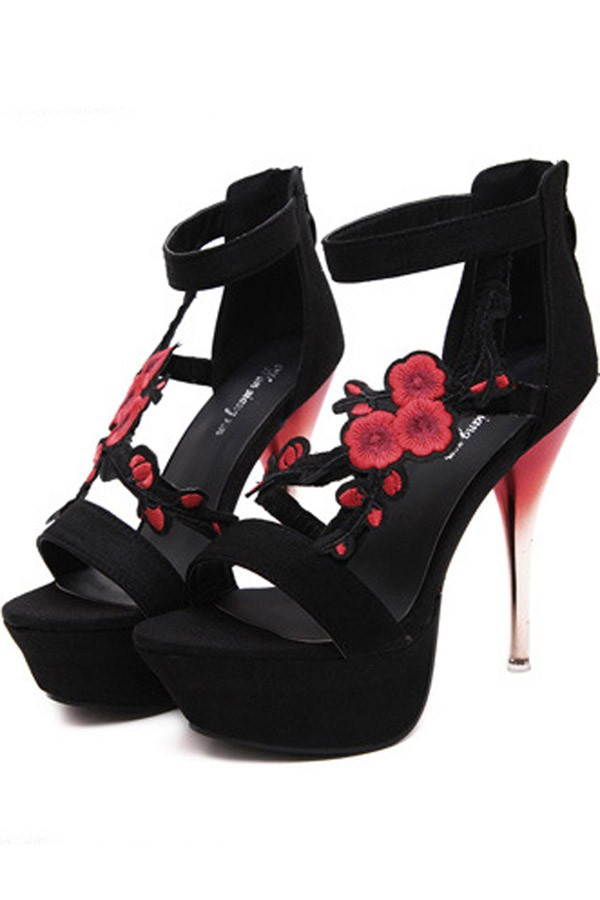 Black Floral Embroidered Cutout Platform Stiletto High Heels