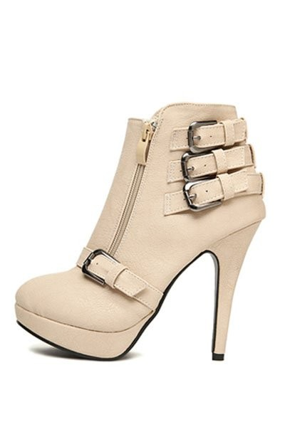 Beige Faux Leather Buckle Accent Stylish Booties