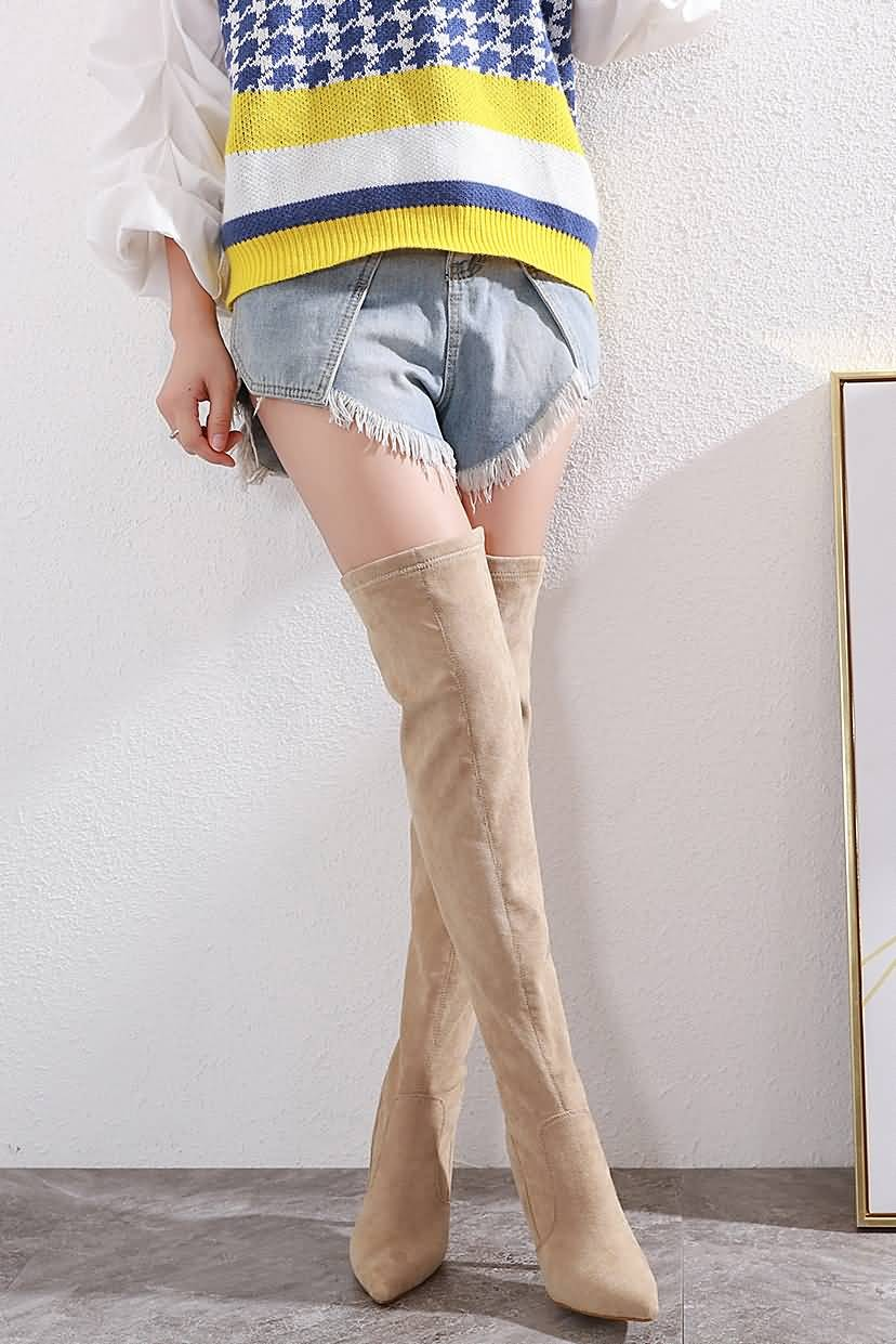 Apricot Pointed Toe Stiletto Over The Knee Boots