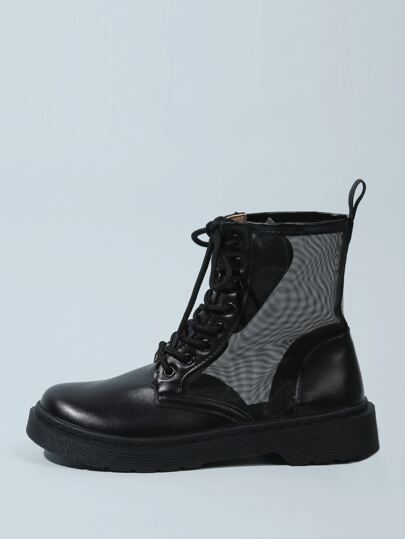 Lace-up Front Mesh Panel Ankle Boots