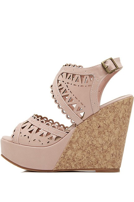 Pink Faux Leather Cutout Platform Wedges