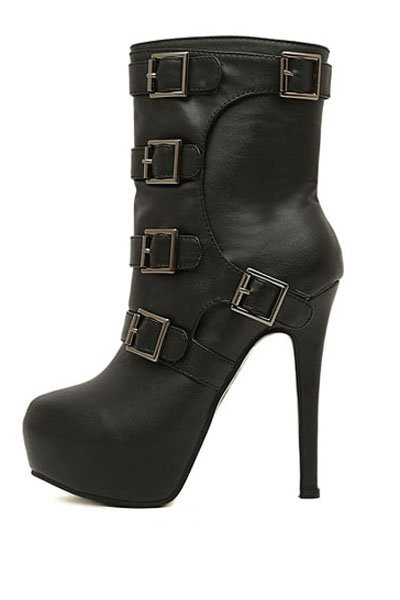 Black Faux Pu Buckle Accent High Heel Boots