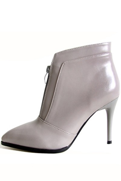 Gray Front Zipper Pointed Toe Stiletto Heel Ankle Booties