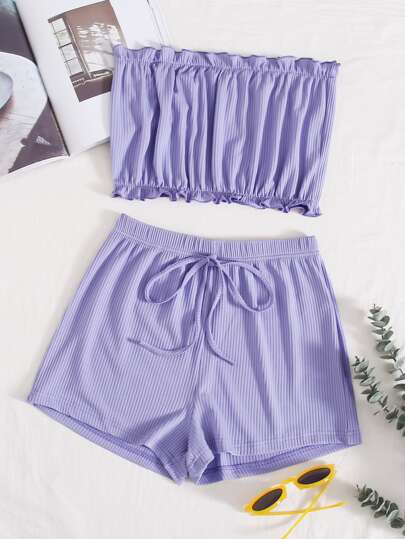 Frill Rib-knit Bandeau With Knot Shorts