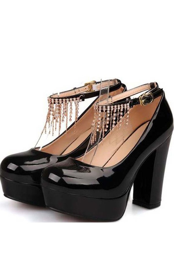 Black Patent Faux Leather Rhinestone Chunky Heels