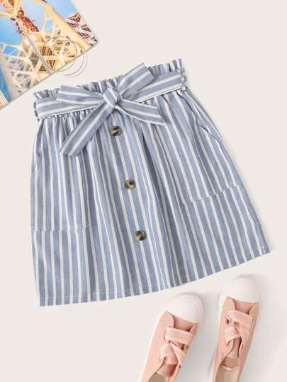 Button Front Pocket Striped Belted Skirt