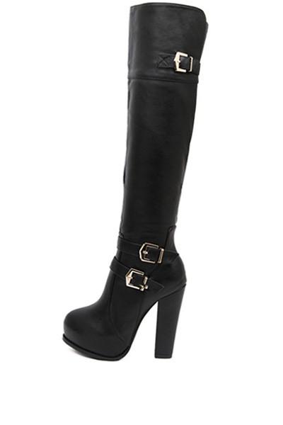 Black Faux Leather Buckle Chunky Heel Thigh High Boots