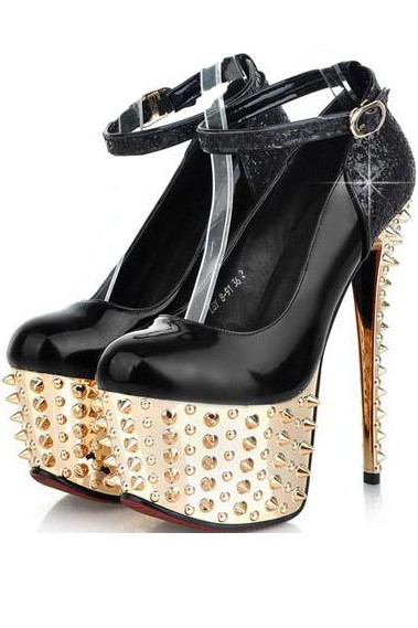 Black Patent Leather Pump Sequin Spike Heels
