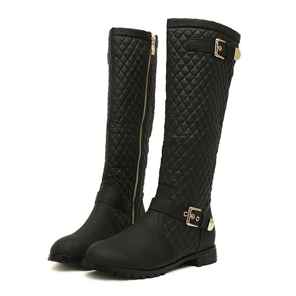 Black Pu Side Buckle Zip Grid Accent Boots