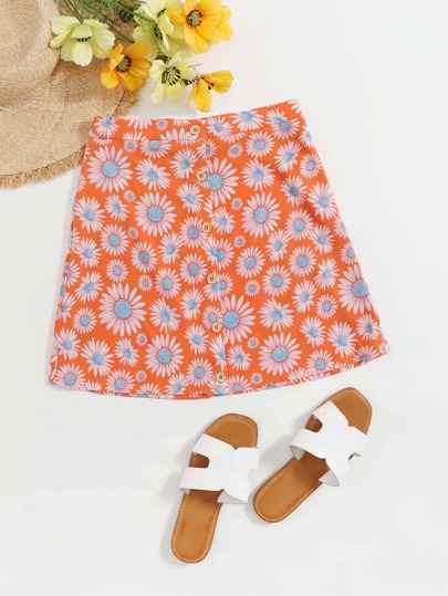 Button Front Daisy Floral Skirt