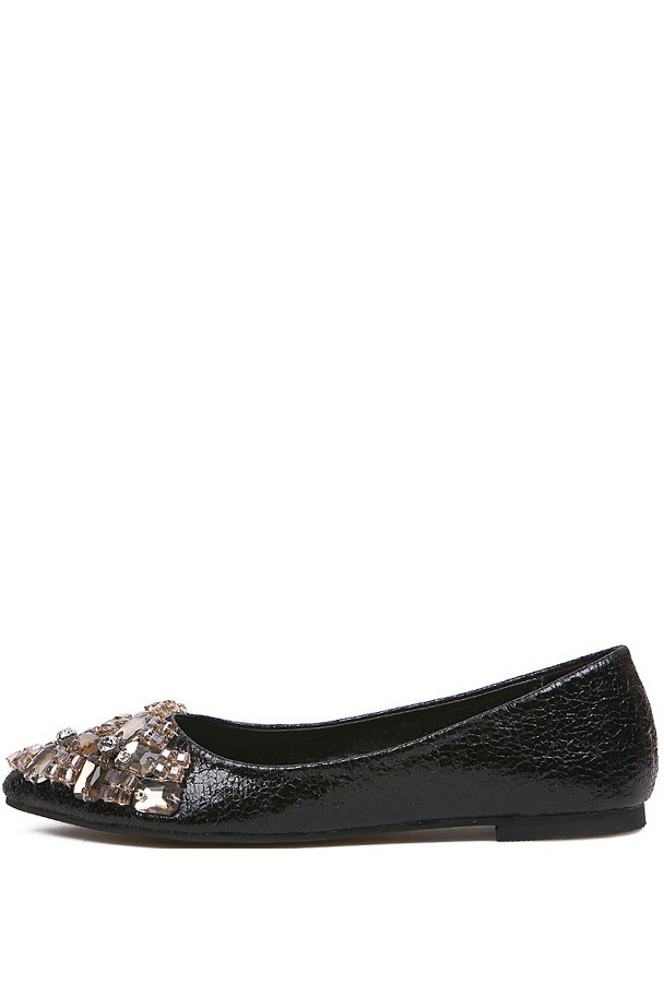 Black Faux Leather Rhinestone Pointed Toe Flats